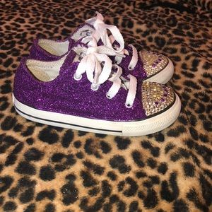 Custom size 9 toddler glitter and bling converse